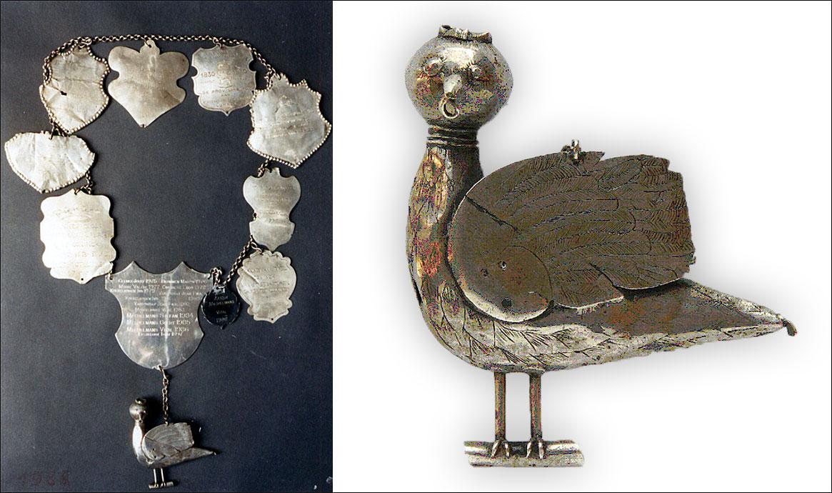 Zilveren breuk en vogel
