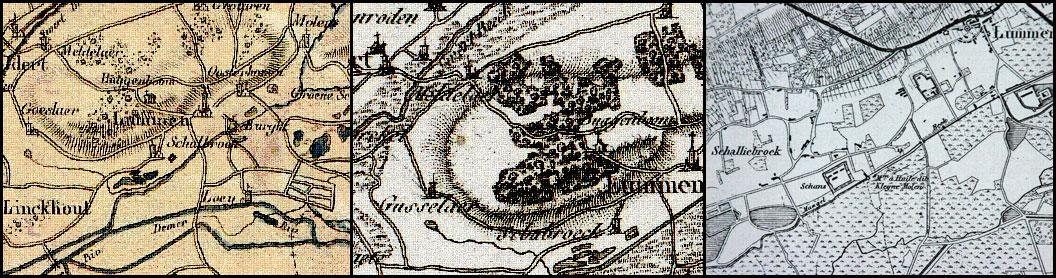 Topografie van Schalbroek in de oudheid. Kaarten v.l.n.r. uit 1795, 1796 en 1846.