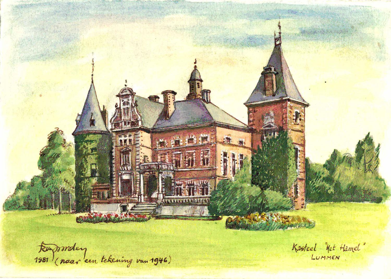 Tekening van kasteel 'Het Hamel' zoals het er uitzag in 1946. Later werd het gesloopt omdat het door de Duitse bezetter 'onteerd' werd.